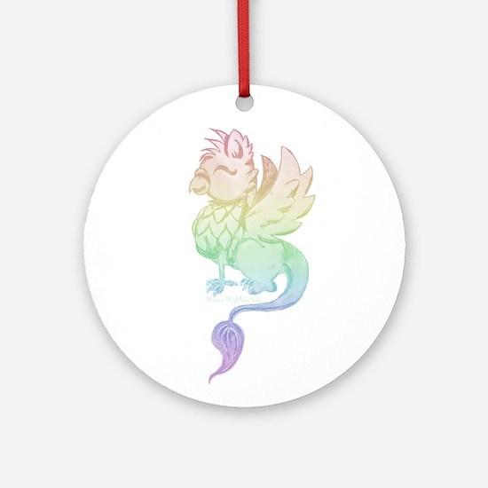 Pastel Rainbow Griffin Round Ornament