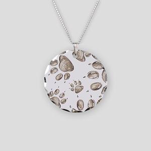 Pawprints Necklace Circle Charm