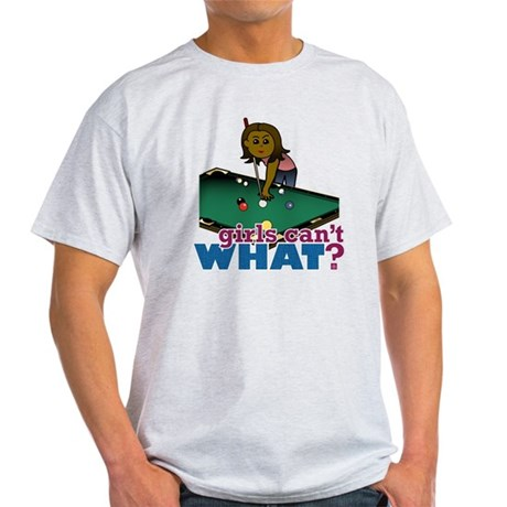 Girl Shooting Pool Light T-Shirt