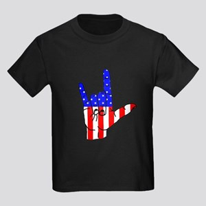 I Love USA Sign Language hand Kids Dark T-Shirt