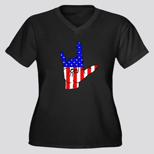 I Love USA Sign Language hand Women's Plus Size V-