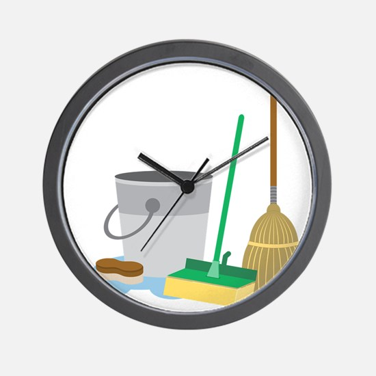 Cleaning Supplies Wall Clock