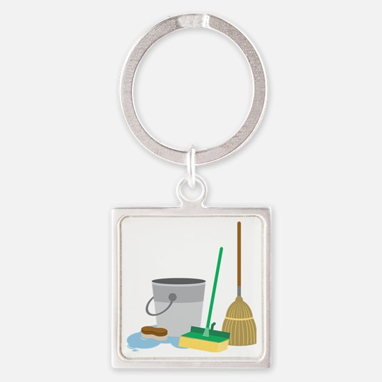 Cleaning Supplies Square Keychain