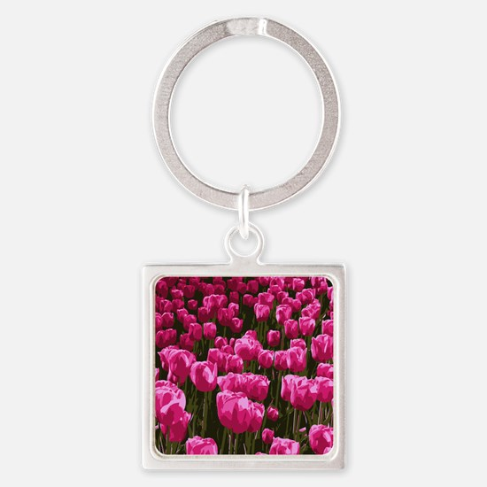 Pretty Pink Tulips Square Keychain