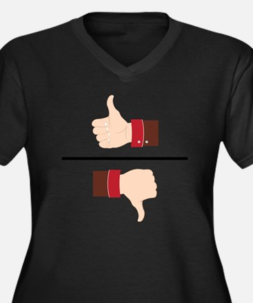 Thumbs Up or Women's Plus Size Dark V-Neck T-Shirt