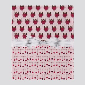 Pink Whimsical Owls Throw Blanket