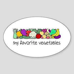 My Favorite Vegetables Oval Sticker