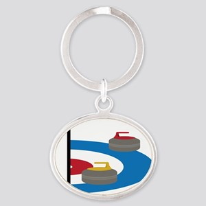 Curling Oval Keychain