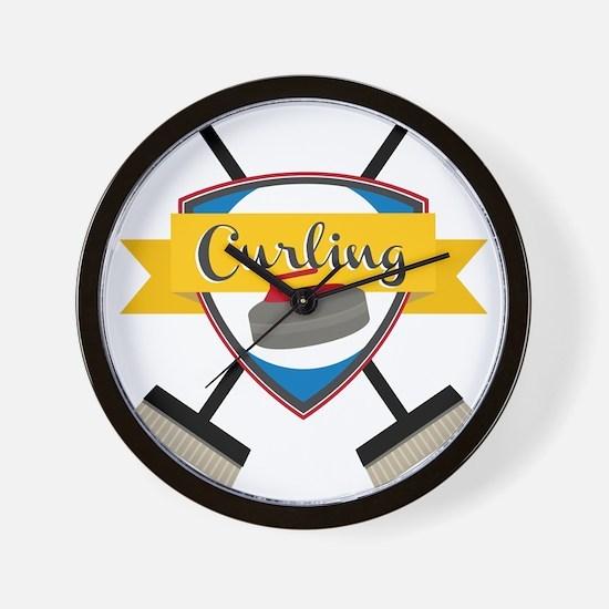 Curling Logo Wall Clock