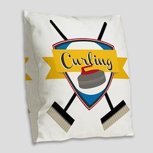 Curling Logo Burlap Throw Pillow