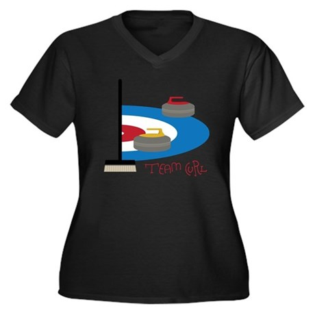 Team Curl Women's Plus Size Dark V-Neck T-Shirt