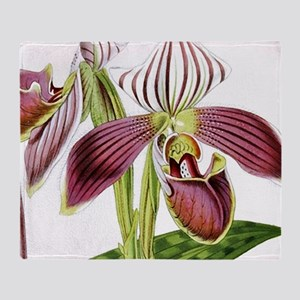 Lady Slipper Orchid Throw Blanket