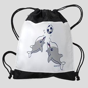 Soccer Dolphins Drawstring Bag