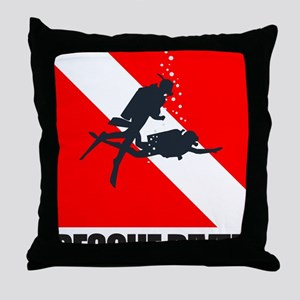 Rescue Diver (blk) Throw Pillow