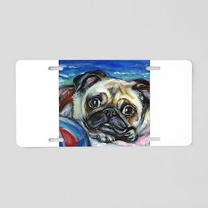 Pug Smile Aluminum License Plate