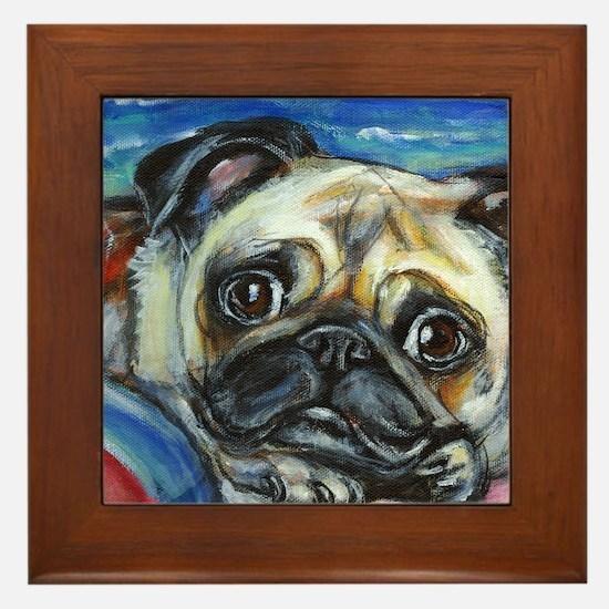 Pug Smile Framed Tile