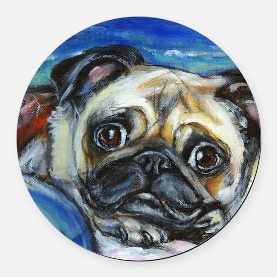 Pug Smile Round Car Magnet