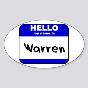 hello my name is warren Oval Sticker