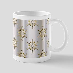 Gold Christmas Stars on Silver Mugs