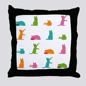 Shower Curtain-16 Cats Throw Pillow