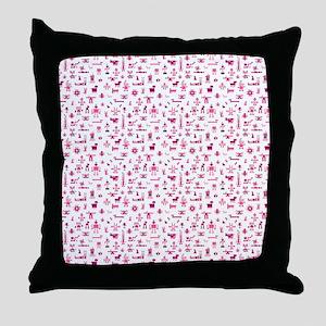 Robots Shower Curtain (Pink) Throw Pillow