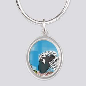 Happy Birthday  to Ewe! Silver Oval Necklace