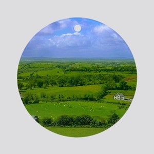 Ireland Green Pastures Photo Round Ornament