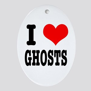 I Heart (Love) Ghosts Oval Ornament