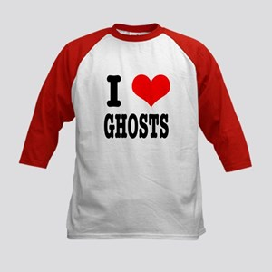 I Heart (Love) Ghosts Kids Baseball Jersey