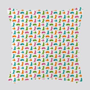 Small Cats Multicolor Woven Throw Pillow
