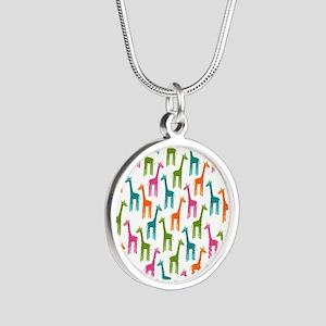 Giraffes Flip Flops Silver Round Necklace