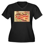 Flat Oregon Women's Plus Size V-Neck Dark T-Shirt