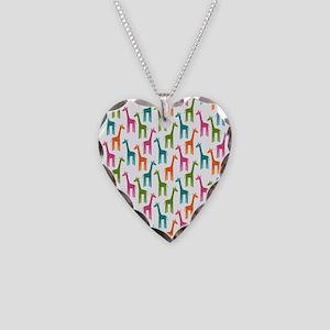 Giraffes Flip Flops Necklace Heart Charm