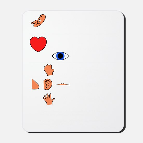 Fetal Development table (white print lon Mousepad