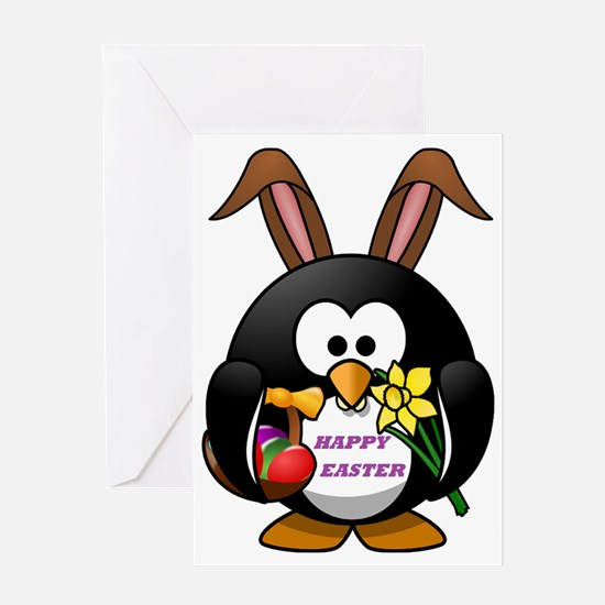 HAPPY EASTER PENGUIN BUNNY Greeting Card