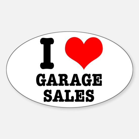 I Heart (Love) Garage Sales Oval Decal