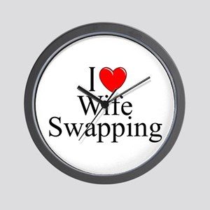 """""""I Love (Heart) Wife Swapping"""" Wall Clock"""