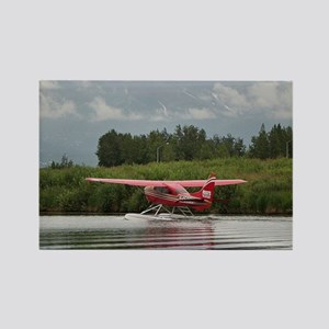 Red float plane taxiing, Alaska Magnets