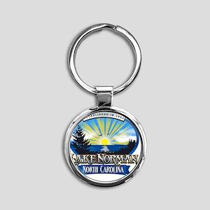 Lake Norman Sun Rays Logo Round Keychain