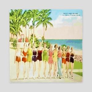 Miami Beach Beauties Queen Duvet
