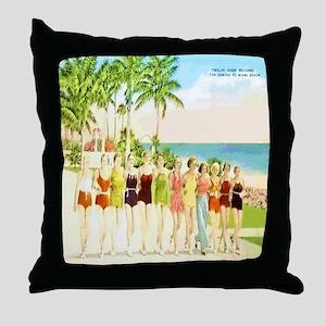 Miami Beach Beauties Throw Pillow