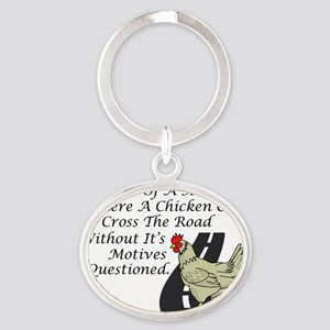 Chicken Crossing The Road Oval Keychain