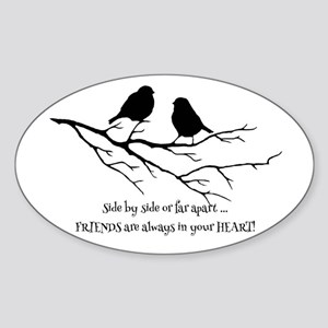 Friends in your Heart Quote Cute Birds on Sticker