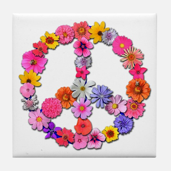 Peace Flowers Tile Coaster