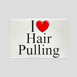 """""""I Love (Heart) Hair Pulling"""" Rectangle Magnet"""