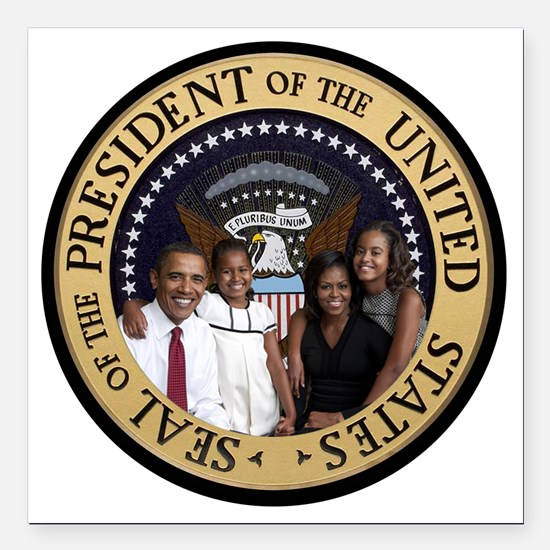 "Obama First Family T SHi Square Car Magnet 3"" x 3"""