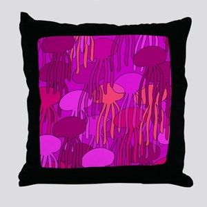 Large Jellyfish Shower Curtain (Pink) Throw Pillow