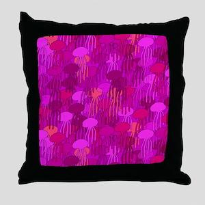 Jellyfish Shower Curtain (Pink) Throw Pillow