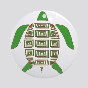 GREEN SEA TURTLE Round Ornament