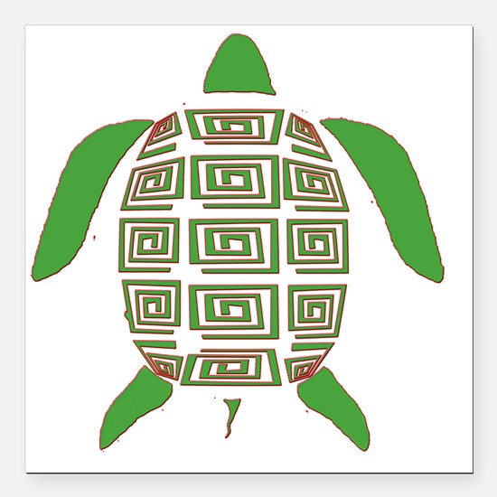 "GREEN SEA TURTLE Square Car Magnet 3"" x 3"""